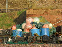 Fishing traps on the Jurassic coastline Royalty Free Stock Photography