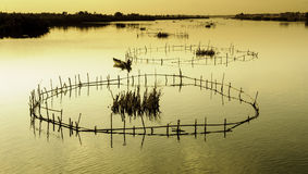 Hoi-an lakes,vietnam 9. Fishing traps on The lakes and inland waterways of hoi-an in vietnam at sunset stock image