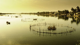 Hoi-an lakes,vietnam 10. Fishing traps on The lakes and inland waterways of hoi-an in vietnam at sunset royalty free stock photography