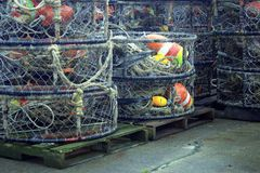 Fishing Traps and Lures. Stacks of fishing traps and lures seen in Astoria, Oregon Stock Photography