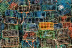 Fishing traps. Stack of several colorful fishing traps Royalty Free Stock Images