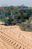 Fishing traps. Stack of several colorful fishing traps on the culatra island Royalty Free Stock Images
