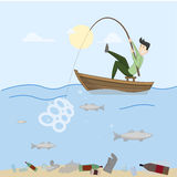 Fishing Trash. Pollution Stock Images