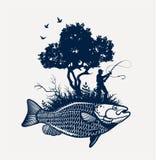 Fishing Traumsee Lizenzfreies Stockfoto