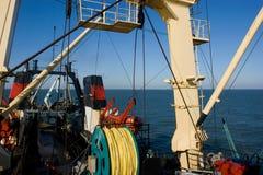 Fishing trawler. In Atlantic ocean near icebergs Royalty Free Stock Images
