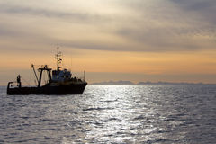 Fishing trawler. During a storm in Pacific ocean near Commander Islands. Kamchatka Stock Photography
