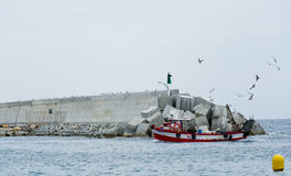 Fishing trawler. Surrounded by seagulls coming home with its catch Stock Photo