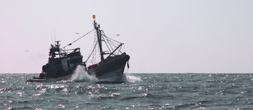 Fishing trawler. In Atlantic ocean off the coast of Western Sahara Royalty Free Stock Image
