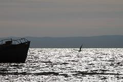 Fishing trawler. Beautiful view of the old fishing trawler at sunset Royalty Free Stock Photos