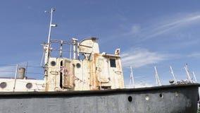 Fishing trawler boat on blue sky stock footage