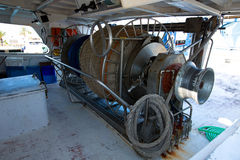 Fishing trawler boat engine motor huge winche Royalty Free Stock Photos