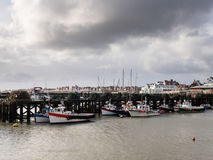 Fishing trawler boats in Bridlington harbour. Royalty Free Stock Images