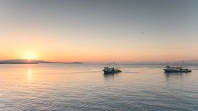 Fishing trawler and boats crossing the sea in the stock video