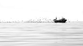 Fishing trawler. In the calm sea.off the coast off Spain Stock Photography