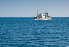 Fishing trawler. Floating in the sea Stock Image
