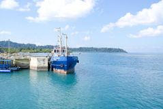 Fishing trawler at Havelock Ferry Ghat, Havelock Island, Andamans. A fishing trawler anchored at the Havelock Ferry Ghat in Havelock Island, 57 kms north east of stock images