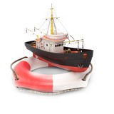 Fishing trawler in lifebuoy Stock Image