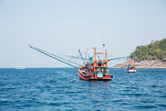 Fishing trawler off the island in the Andaman Sea, Thailand Stock Photography