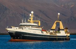 Fishing trawler. Offshore commercial fishing factory stern trawler from the Faroe Islands Royalty Free Stock Photography