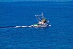 Fishing trawler open water aerial view Stock Photos