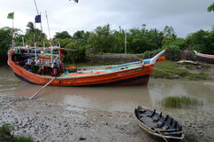 Fishing Trawler. On the river bank. Namkhana is a village in South 24 Parganas district in the Indian state of West Benga-Indial. It is famous for fishing by Royalty Free Stock Photos