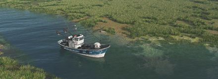 Fishing trawler on a river Royalty Free Stock Photography