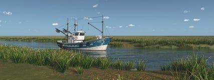Fishing trawler on a river Stock Photo