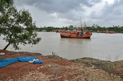 Fishing Trawler. A fishing trawler on the river. Namkhana is a village in South 24 Parganas district in the Indian state of West Benga-Indial. It is famous for Stock Image