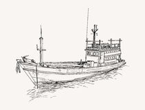 Fishing trawler at the sea , sketch . Drawing of fishing trawler at the sea , sketch Royalty Free Stock Photography