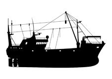Fishing trawler. Silhouette of a fishing trawler. Side view. Flat vector Stock Photography