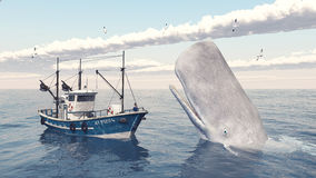 Fishing trawler and sperm whale Stock Photo
