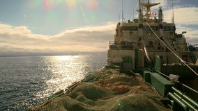 Fishing trawler. View of the captain's bridge stock video footage