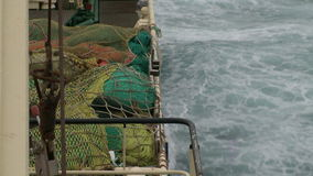 Fishing trawler. View from the main deck. stock footage