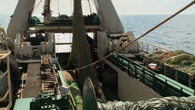 Fishing trawler. View from a main deck stock video footage
