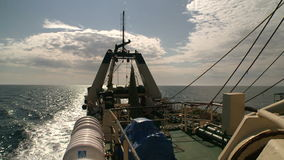 Fishing trawler. View from a main deck stock footage