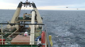Fishing trawler. View from the main deck stock video