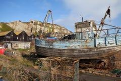 Fishing trawler wreck Hastings Stock Photos