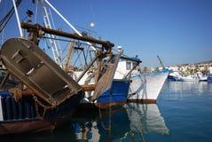 Fishing trawlers in Caleta de Velez harbour. Stock Photography
