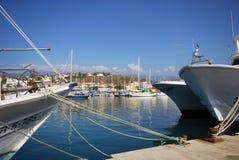 Fishing trawlers in Caleta de Velez harbour. Royalty Free Stock Photos