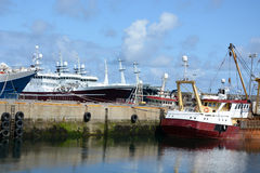 Fishing Trawlers in Harbour Stock Photo