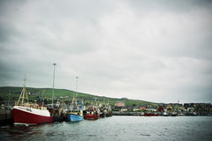 Fishing trawlers in Irish harbour Stock Photos