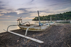Fishing Trimaran in Bali, Indonesia. Small trimarans used as fishing boats in Indonesia. They come from the Province of Bali. The boats are all made from one stock images