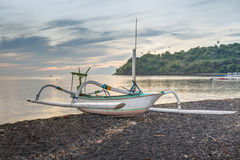 Fishing Trimaran in Bali, Indonesia. Small trimarans used as fishing boats in Indonesia. They come from the Province of Bali. The boats are all made from one stock image