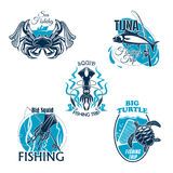 Fishing trip or club vector icons or badges set Stock Images