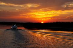 Fishing trip in gold sunset stock image