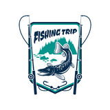 Fishing trip sport adventure club sign. Fishing trip sign. Fisherman adventure sport camp badge icon with pike, trout fish hooked on fishing rod, river in forest Stock Photography