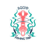 Fishing trip sporting symbol with squid Stock Photography