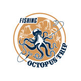 Fishing trip vector icon of octopus and tackle. Octopus fishing trip vector icon with hooks tackle and fishnet snare or scoop-net grid and ocean underwater Stock Image