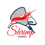 Fishing trip vector icon of shrimp and fishnet Royalty Free Stock Photography