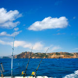 Fishing trolling boat rods in Mediterranean Cabo Nao Cape Royalty Free Stock Photography